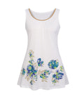 ByChicStyle Casual Beading Floral Printed Round Neck Sleeveless Plus Size T-Shirt