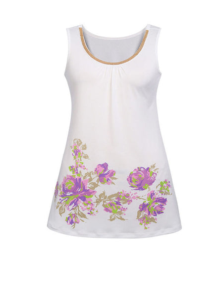 Casual Beading Floral Printed Round Neck Sleeveless Plus Size T-Shirt