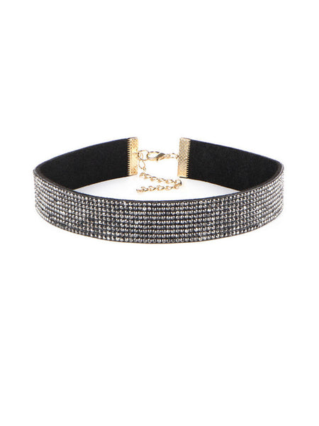 Full Of Diamond Rhinestone Choker Necklace - Bychicstyle.com