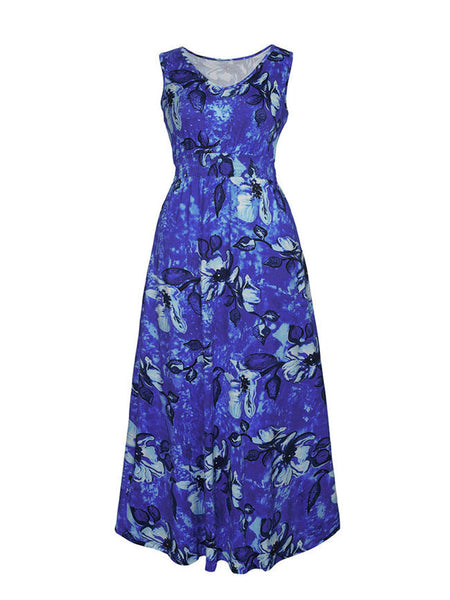 V-Neck Elastic Waist Plus Size Maxi Dress In Floral Printed - Bychicstyle.com