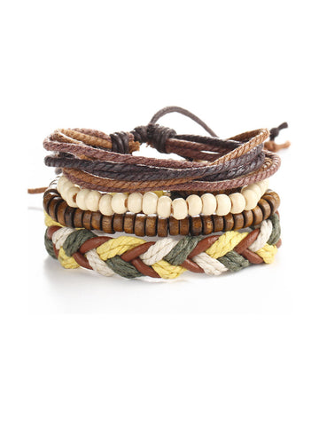 Casual Beads Leather Weave Bracelet