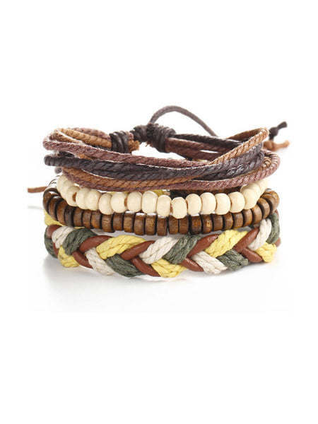 ByChicStyle Casual Beads Leather Weave Bracelet