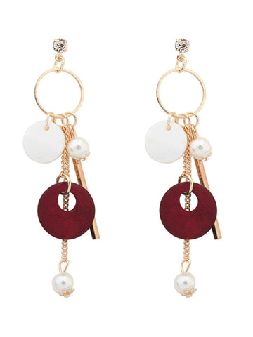 Casual Bar And Pearl Pendant Earring