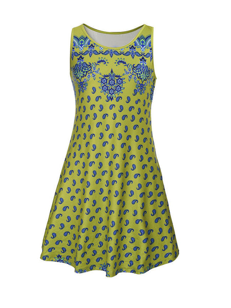 Casual Distinctive Sleeveless Paisley Tribal Printed Shift Dress