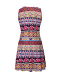 ByChicStyle Colorful Striped Tribal Printed Sleeveless Shift Dress - Bychicstyle.com