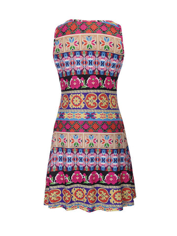 Colorful Striped Tribal Printed Sleeveless Shift Dress - Bychicstyle.com