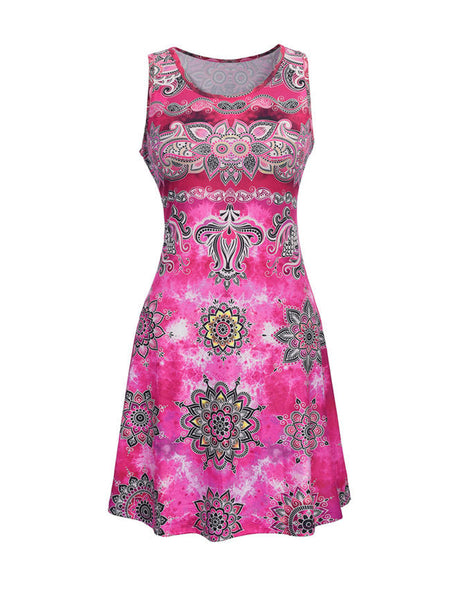Casual Distinctive Tribal Printed Round Neck Shift Dress