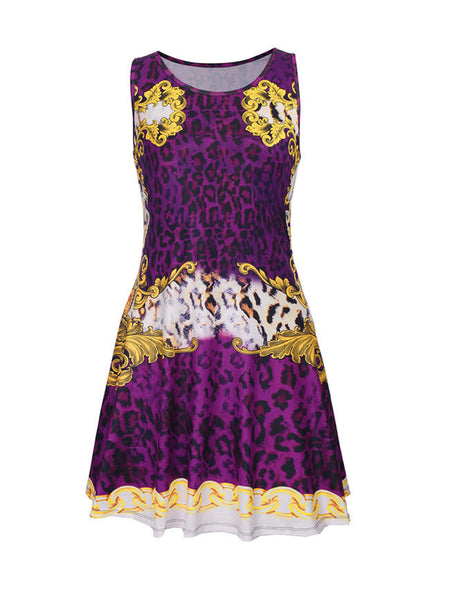 Delicate Leopard Printed Round Neck Sleeveless Shift Dress - Bychicstyle.com