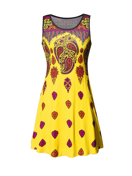 Ethnic Style Round Neck Paisley Printed Shift Dress - Bychicstyle.com