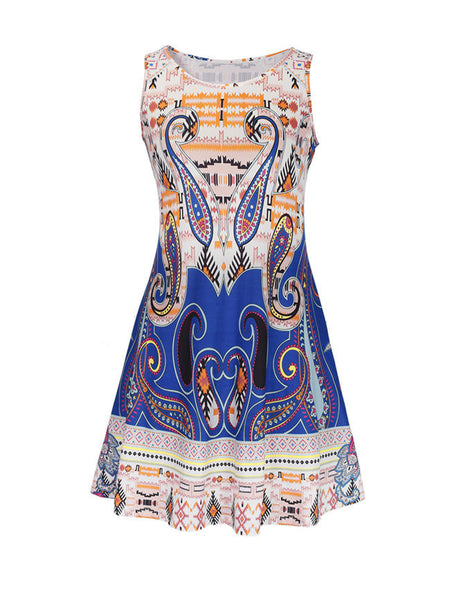 Fascinating Sleeveless Paisley Printed Shift Dress - Bychicstyle.com