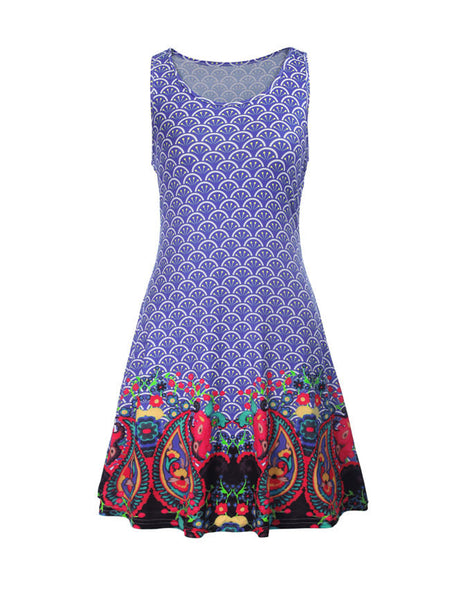 Sleeveless Round Neck Dramatic Printed Shift Dress - Bychicstyle.com
