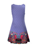 ByChicStyle Sleeveless Round Neck Dramatic Printed Shift Dress - Bychicstyle.com