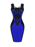 ByChicStyle Exquisite Decorative Lace Color Block Round Neck Bodycon Dress - Bychicstyle.com