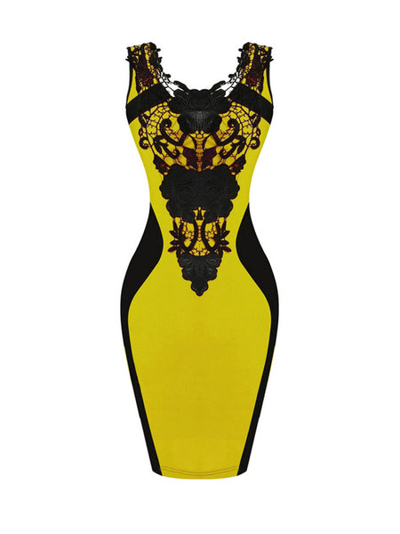Exquisite Decorative Lace Color Block Round Neck Bodycon Dress - Bychicstyle.com