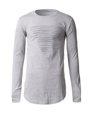 Long Sleeve Ripped Round Neck Plain T-Shirt - Bychicstyle.com