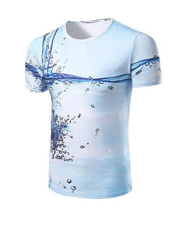 Dramatic Round Neck Water Printed T-Shirt - Bychicstyle.com