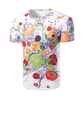Round Neck Fruit Printed T-Shirt - Bychicstyle.com