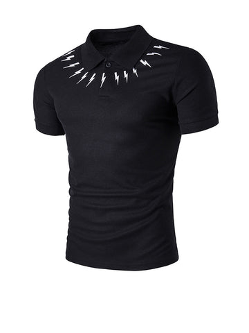Lightning Printed Polo Collar T-Shirt - Bychicstyle.com