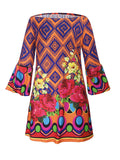 ByChicStyle Off Shoulder Floral Geometric Shift Dress With Bell Sleeve - Bychicstyle.com