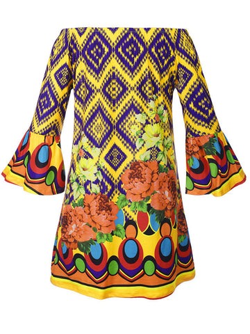 Off Shoulder Floral Geometric Shift Dress With Bell Sleeve - Bychicstyle.com
