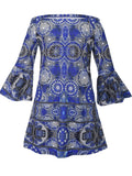 ByChicStyle Excellent Tribal Printed Off Shoulder Shift Dress With Bell Sleeve - Bychicstyle.com