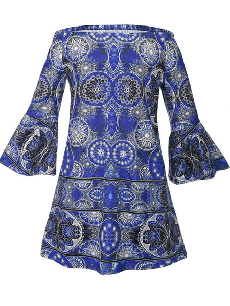 Excellent Tribal Printed Off Shoulder Shift Dress With Bell Sleeve - Bychicstyle.com