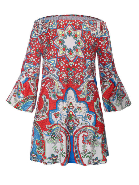 Off Shoulder Ethnic Designed Printed Shift Dress - Bychicstyle.com
