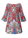 ByChicStyle Off Shoulder Ethnic Designed Printed Shift Dress - Bychicstyle.com