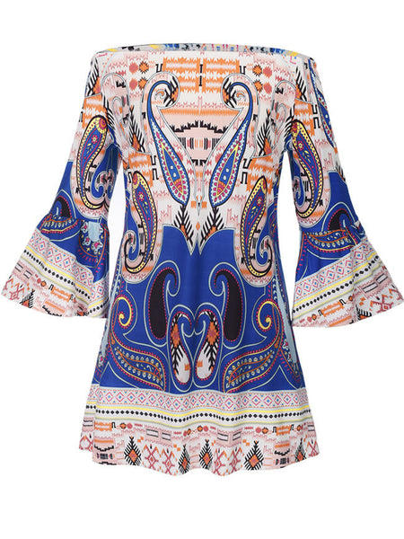 Loose Paisley Printed Bell Sleeve Shift Dress - Bychicstyle.com