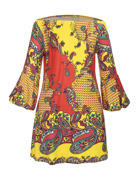 Paisley Printed Off Shoulder Shift Dress With Bell Sleeve - Bychicstyle.com