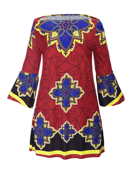 Loose Off Shoulder Bell Sleeve Shift Dress In Tribal Printed - Bychicstyle.com
