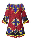 ByChicStyle Loose Off Shoulder Bell Sleeve Shift Dress In Tribal Printed - Bychicstyle.com