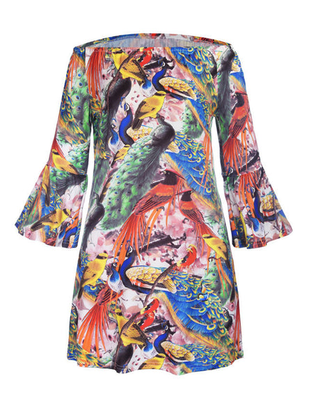 Casual Bell Sleeve Off Shoulder Peacock Printed Shift Dress