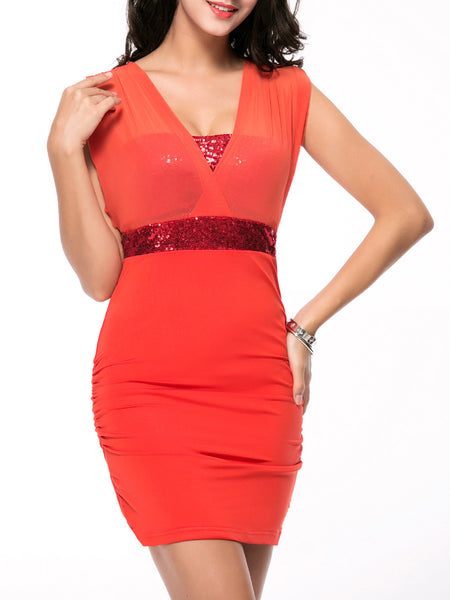 Empire Glitter Hollow Out Plain Bodycon Dress - Bychicstyle.com