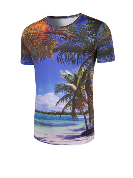 Round Neck Coconut Tree Printed T-Shirt - Bychicstyle.com
