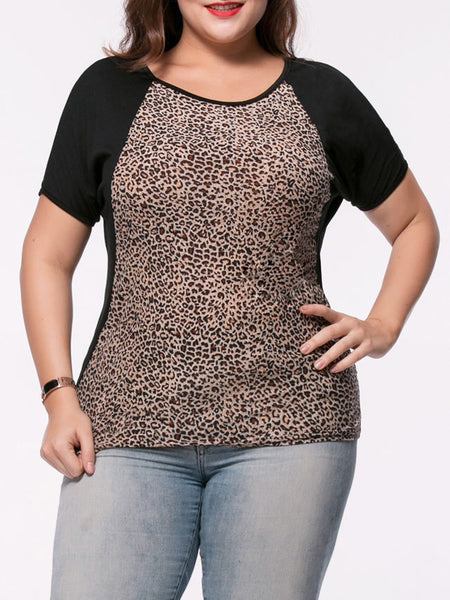 Hot Leopard Round Neck Plus Size T-Shirt - Bychicstyle.com