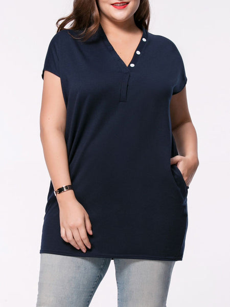 Longline V-Neck Pocket Solid Plus Size T-Shirt With Contrast Button - Bychicstyle.com