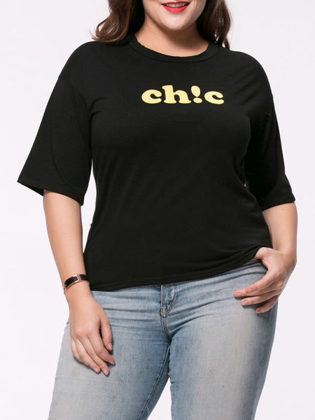 Half Sleeve Simple Designed Letters Printed Plus Size T-Shirt - Bychicstyle.com