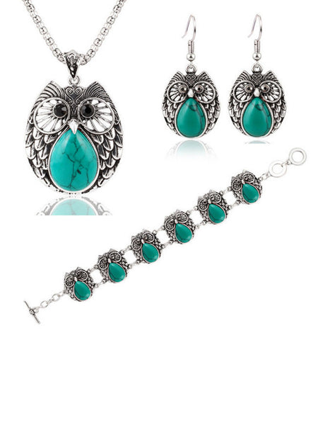 Metal Owl Turquoise Three Suit Necklace Bracelet Earring - Bychicstyle.com