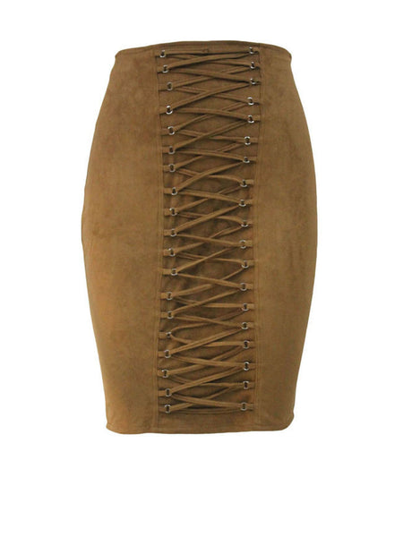 Lace-Up Solid Pencil Midi Skirt - Bychicstyle.com
