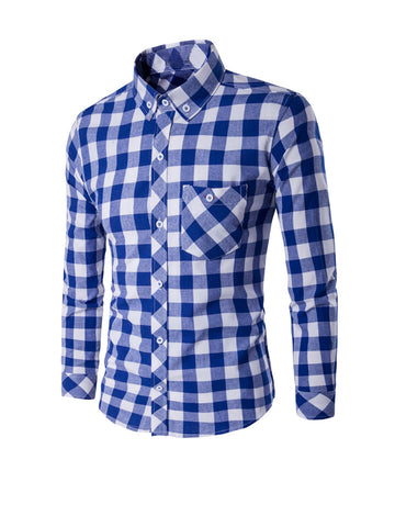 Classic Skinny Check Men Shirt With Button Down Collar - Bychicstyle.com