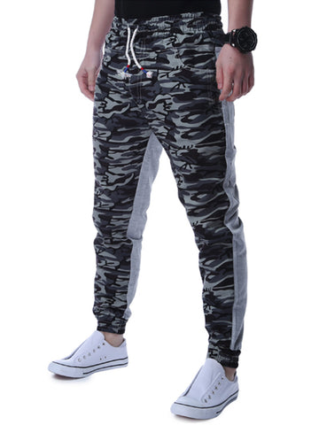 Camouflage Drawstring Pocket Slim-Leg Men's Casual Pant - Bychicstyle.com
