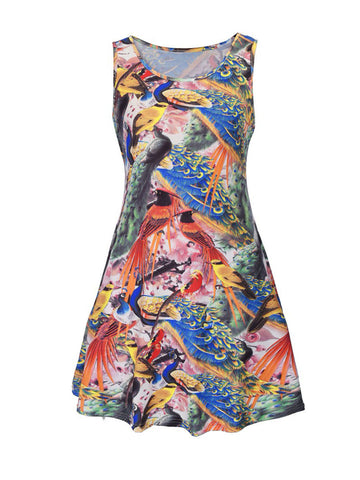 Colorful Peacock Printed Round Neck Plus Size Shift Dress - Bychicstyle.com