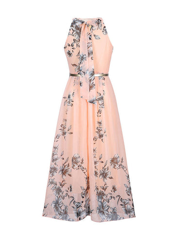 Flowy Floral Printed  Chiffon Crew Neck  Maxi Dress - Bychicstyle.com