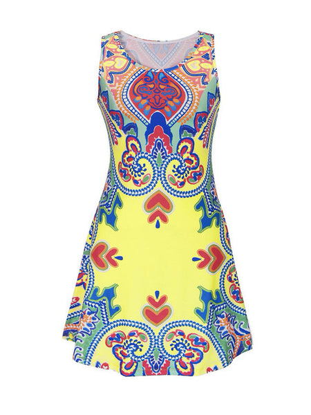Casual Tribal Printed Round Neck Plus Size Shift Dress - Bychicstyle.com