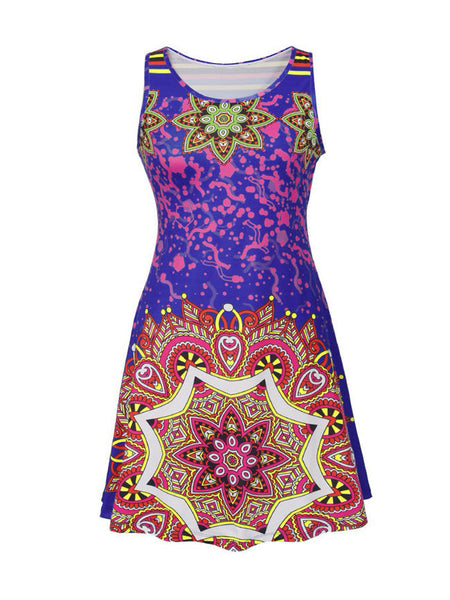 Loose Sleeveless Round Neck Printed Plus Size Shift Dress - Bychicstyle.com