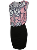 ByChicStyle Casual Designed Cowl Neck Printed Bodycon Dress