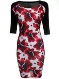 ByChicStyle Half Sleeve Color Block Floral Round Neck Bodycon Dress - Bychicstyle.com
