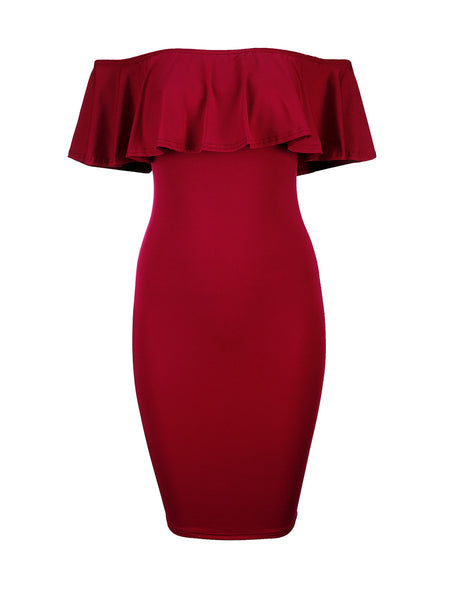 Flounce Off Shoulder Solid Bodycon Dress - Bychicstyle.com