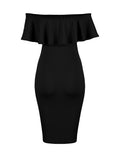 ByChicStyle Flounce Off Shoulder Solid Bodycon Dress - Bychicstyle.com